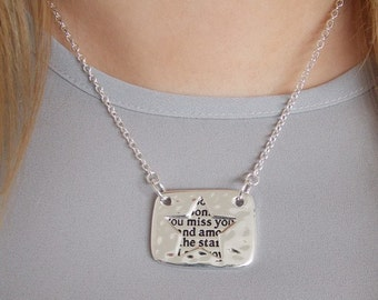 Silver Shoot For The Moon Inscription Locket Style Pendant Necklace