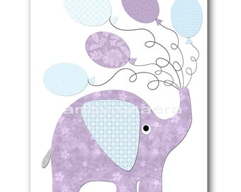 Purple Blue Elephant Decor Baby Girl Wall Art Digital Wall Art Printable Art Digital Download Art Digital Decor 8x10 11X14 INSTANT DOWNLOAD