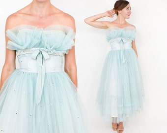Reserved for Kate...........50s Blue Tulle Prom Dress | Strapless Full Skirt Cupcake Party Evening Dress | Small
