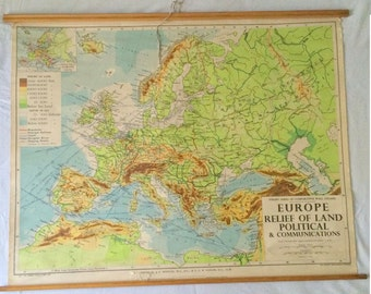 "1961 Pull down Canvass SCHOOL MAP of EUROPE George Philips London 42"" wide x 33"" cm tall"