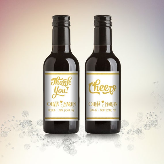 Printable Wine Bottle Labels: Party Favor Mini Wine Bottle Labels Customized By
