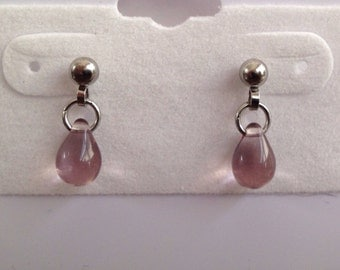 Vintage Glass Surgical Steel earrings purple