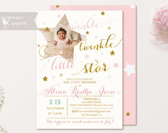 Twinkle Twinkle Little Star Birthday Invitations Shabby Pink Gold Glitter Party girl First Birthday Digital Printable Invitations