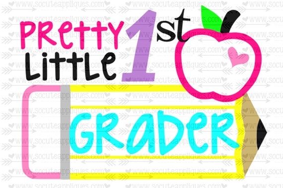 Svg Dxf Eps Cut File Pretty Little 1st Grader Pencil