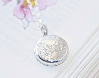 Silver Butterfly Locket, silver locket, butterfly jewellery, engraved locket