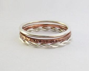 Set of 3 Stacking Rings - Mixed Metal Silver & Copper Stacking Ring  - Sterling Silver Stacking Rings