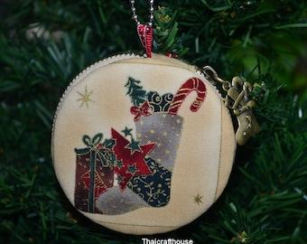 Christmas Macaroon jewelry purse,7.5 cm.