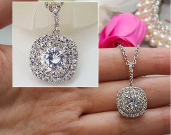 Square dangle Wedding bridal AAA Cubic Zirconia Necklace, CZ  bridesmaid Necklace gifts