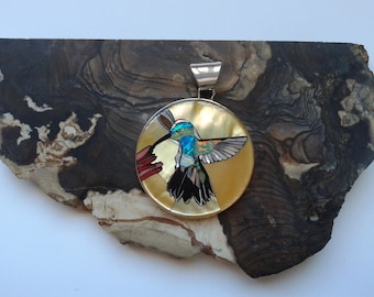 Hummingbird Sterling Silver Inlay Pendant Jewelry with Opal, Mother of Pearl, Paua and Spiny Shell with Jet