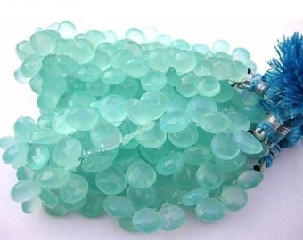 1/2 Strand Aqua Chalcedony Faceted Heart Briolettes, Aqua Chalcedony Beads, Finest Quality Wholesale Price