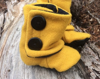 Yellow baby boots, mustard yellow baby boots, winter baby boots, handmade baby boots, wool baby boots, up cycled baby boots