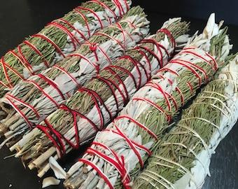 "rosemary sage bundles 8"" - rosemary smudge stick - white sage smudge stick - California white sage - smudge - smudge stick - 8"" smudge stick"