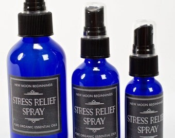 Stress Relief Spray - Citrius and Lavender Essential Oils - Stress Relief Mist - Amethyst & Quartz Gemstone - Aromatherapy