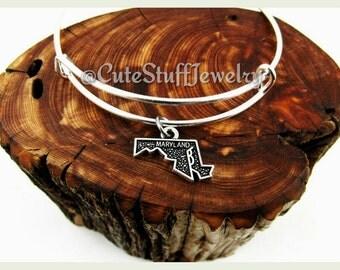 Maryland State Bracelet, State of Maryland Bangle, Handmade MD Bracelet, MD Bangle,  Maryland Bracelet, USA, Maryland Jewelry Gift