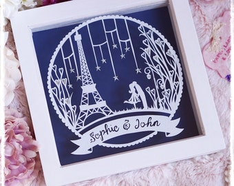 City of Love - Engagement Wedding Anniversary Paper Cut Personslised Keepsake