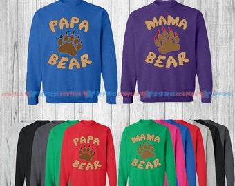 Mama Bear & Papa Bear - Matching Couple Sweatshirt - His and Her Sweatshirts - Love Sweaters