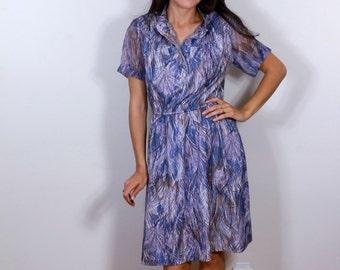 1940s Blue Purple Feather Dream Dress