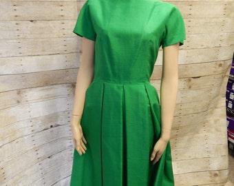 1960's Green silk Dress