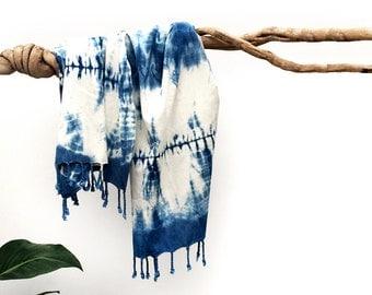 MOON GLADE PESHTIMAL – Turkish Bath Towel – Hand Dyed – Natural Indigo