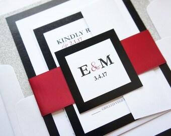 Modern Wedding Invitation - Red Wedding Invitation Sets, Modern Wedding Invites, Red and Black, Glitter Wedding Invites - SAMPLE SET