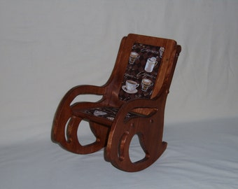 Finished handcrafted rocking chair with cushioned seat and back. Part No 1403-B