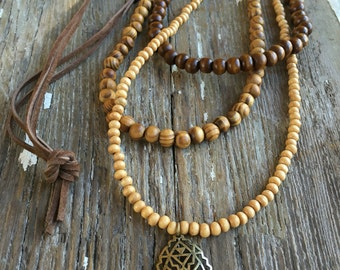 Wood beaded necklace - pendant necklace - multi strand necklace - boho necklace