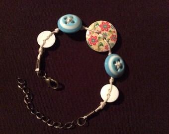 Children's Blue Button Bracelet