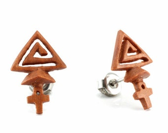 "Hand Carved - ""Pyramids"" - Wood Stud Earring - Ancient Egypt"