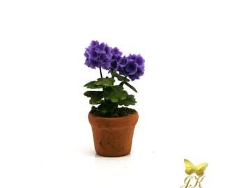Deep Violet Geranium Cold Porcelain Dolls House Miniature