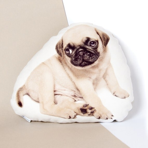 Pug Puppy Pillow Funny and Cute Pug Dog Pet Lover by Casacova