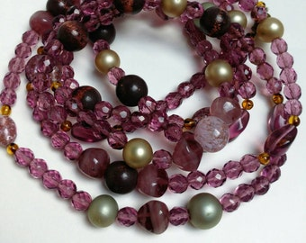 Vintage purple glass beads necklace long