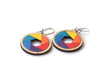 Elegant multicolored wooden earrings - model 2.2