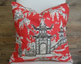 """Chinoiserie Red Pagoda Pillow Cover 20"""""""