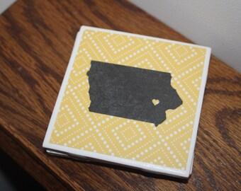 Iowa coasters -  set of 4