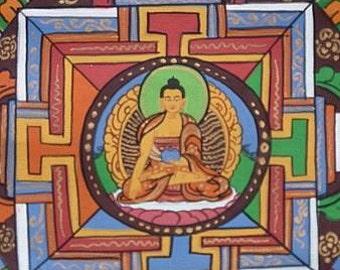 TANGKA Tibetan MANDALA painting Buddhist wisdom tibet compassion dorje meditation zen Buddhism dharma painting