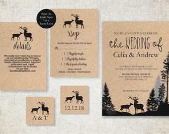Rustic Fall Wedding Invitation Template, Deers Wedding Invite Printable,  Camping Wedding Invitation, Digital