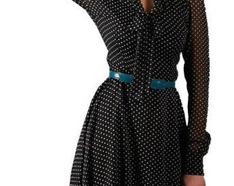 Black white dress Polka dot dresses Chiffon dress Women dresses Knee dress Long sleeve dress Boat neck dress Black sumner dresses