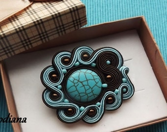 Turquoise & Brown soutache  brooch