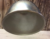 Image of 1950s industrial spun steel and holophane glass ceiling light shade factory lighting architectural lighting