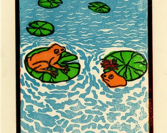 Frogs and waterlily linocut