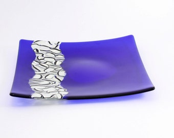 Fused glass platter in cobalt blue transparent glass | Art glass decorative or functional!