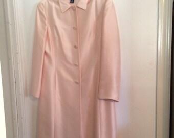 Vintage Ann Taylor  Silk Pink Coat  Petite Matching 5 button Coat Size 14