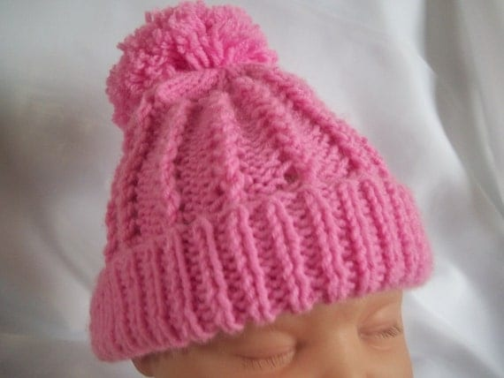 PDF Knitting Pattern (instant download) for a pom pom hat beanie baby girl bo...