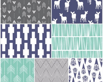 Custom Crib Bedding Set, Made to Order, Navy, mint, gray,modern, aztec, arrows, crib skirt, sheet, baby blanket