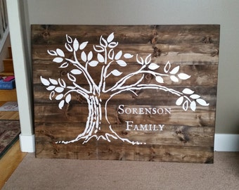 4 ft x 5 ft Custom Family Name and Tree Painted Wood Sign