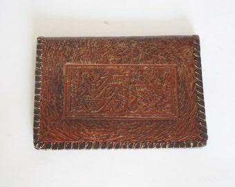 Vintage leather brown purse  ,Women's Leather Wallet, Handmade portfolio, Folding billfold, gif