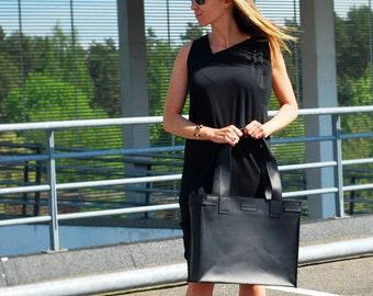 Tote bag black genuine leather