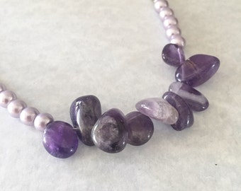 Purple beaded necklace, purple necklace, beaded necklace, stone necklace