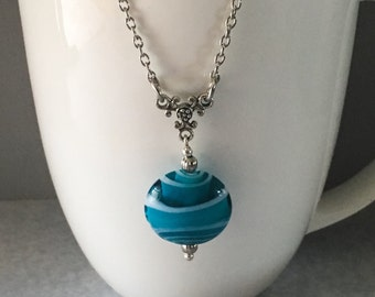 Blue pendant necklace, blue necklace, blue pendant, aqua beaded necklace, aqua pendant necklace, aqua necklace, pendant necklace