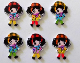 6 Wooden Doll Buttons  - Sewing - Quilting - Embellishments - #SB-00135